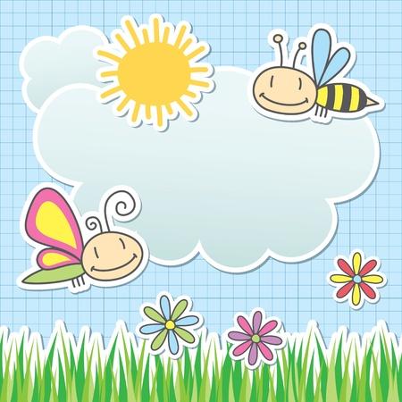 niños dibujando: tarjeta con sol, nubes, mariposas y abejas