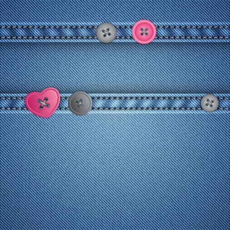 stitches: realistic denim and sewing buttons, vector background