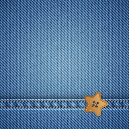 seam: denim and star sewing button, vector background Illustration