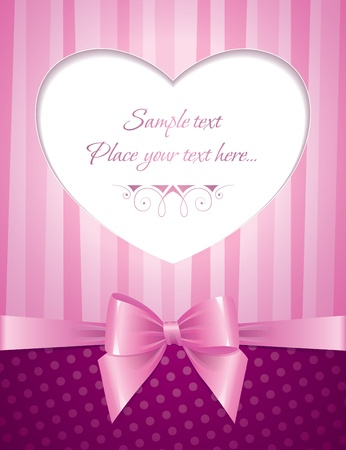satin round: pink card with heart and glossy bow Illustration