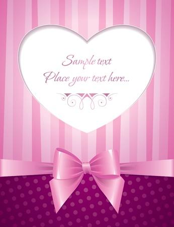 mo�os rosas: tarjeta rosada con el coraz�n y el arco brillante