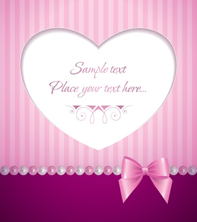 nacre: romantic pink background with pearls and bow Illustration