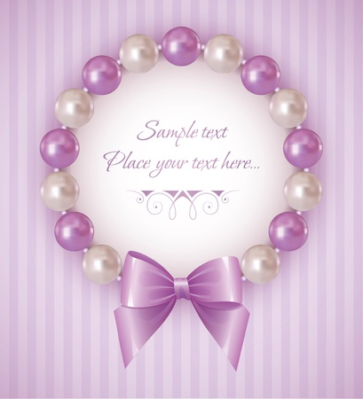 violet background with pearl bracelet and bow Vector