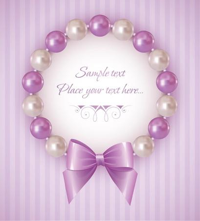 真珠のブレスレットと弓と紫色の背景
