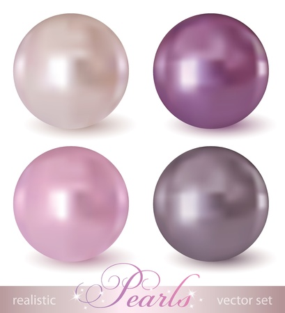 set of realistic pearls on white background Vector