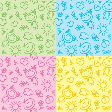 hand drawn seamless patterns with kids and summer symbols Vector
