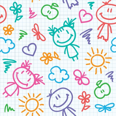 kids drawing: hand drawn seamless pattern with kids and summer symbols