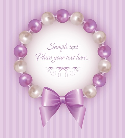 satin round: violet background with pearl bracelet and bow Illustration