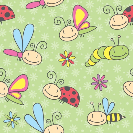 cartoon insects seamless pattern, vector eps 8 Vector