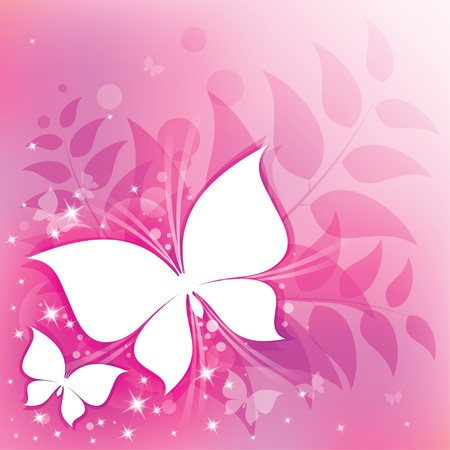 pink abstract background with butterflies and floral elements Illustration