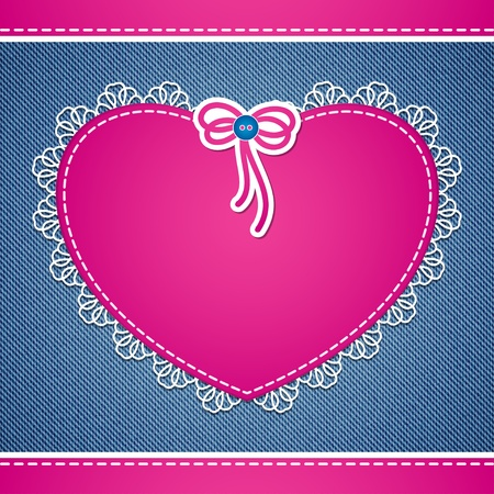 denim background with pink heart and white lace Vector