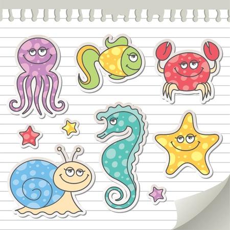 creatures: set of cartoon sea creatures Illustration