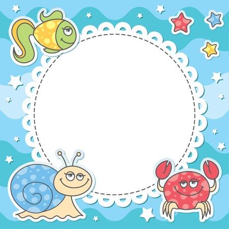card with cartoon sea creatures Vector