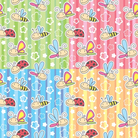 set of cute seamless pattern with insects Vector