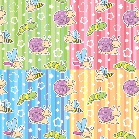 set of cute seamless pattern with insects and snails Vector