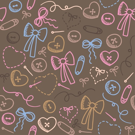 hand drawn romantic seamless pattern with sewing elements Vector