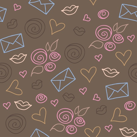 cute romantic pattern with roses, hearts and envelopes Vector