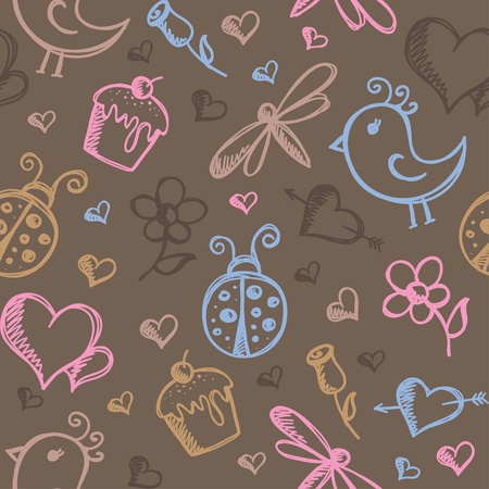 romantic seamless pattern with hand drawn elements Vector