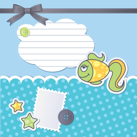 scrapbooking set with cartoon fish, sewing buttons and bow Vector