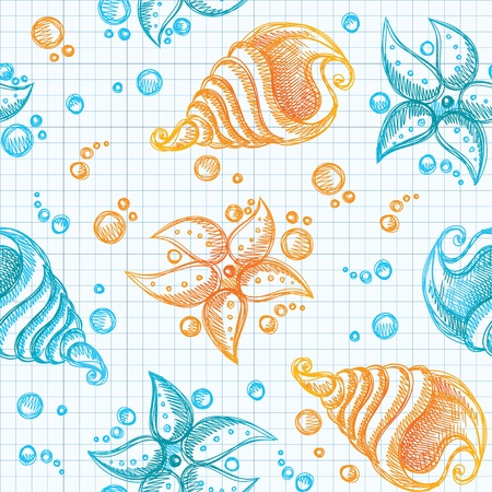 hand drawn seamless pattern of starfishes and shells Vector