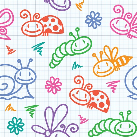 hand drawn seamless pattern with insects and snails