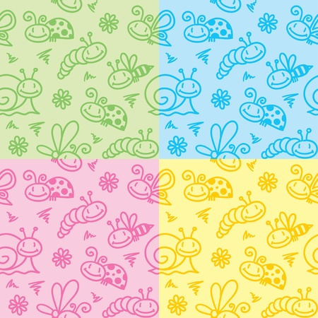 hand drawn seamless patterns with insects and snails Vector