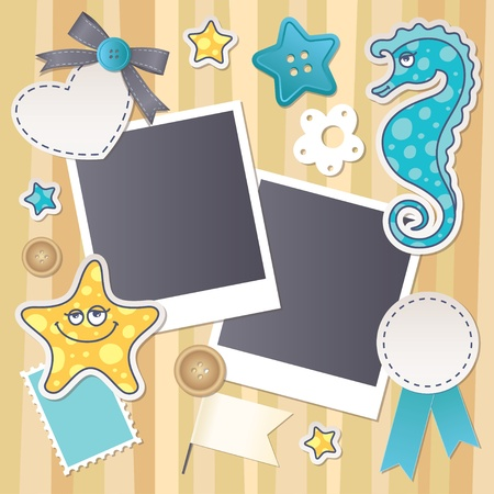 scrapbook set with cartoon starfish and seahorse Vector