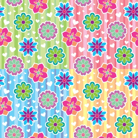 colorful seamless patterns with flowers and hearts Vector