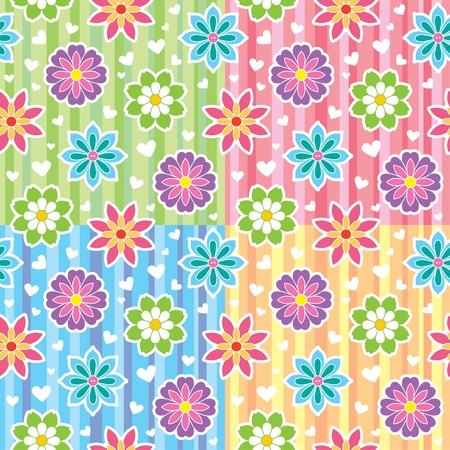 colorful seamless patterns with flowers and hearts Stock Vector - 13283195