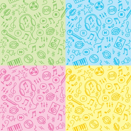 funny hand drawn seamless patterns with music symbols Vector