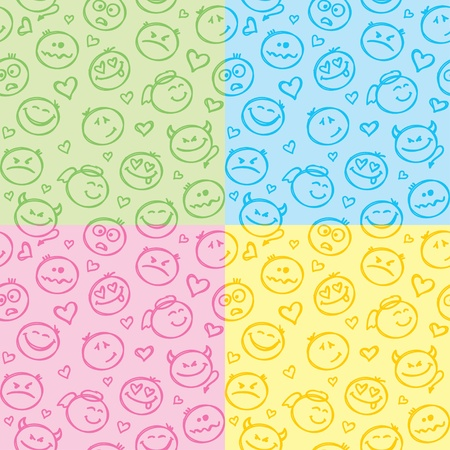 seamless patterns of hand drawn colorful smiles