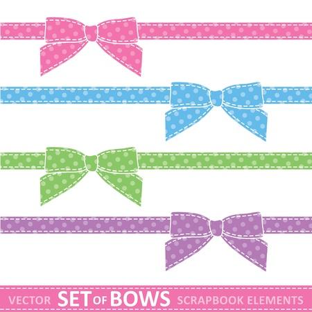 set of cartoon bows, digital scrapbooking elements  イラスト・ベクター素材