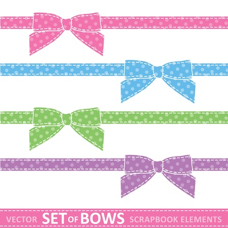 set of cartoon bows, digital scrapbooking elements Vector