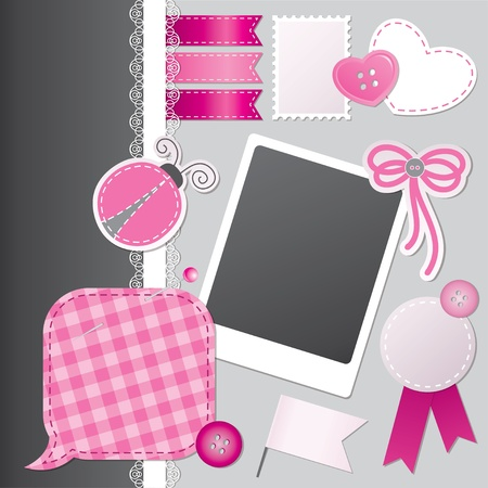 scrapbooking set with speech bubble, stickers, photo frame and sewing buttons Illustration