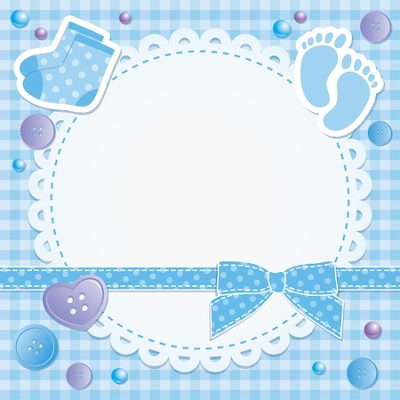 baby boy shower: baby frame with blue bow and stickers