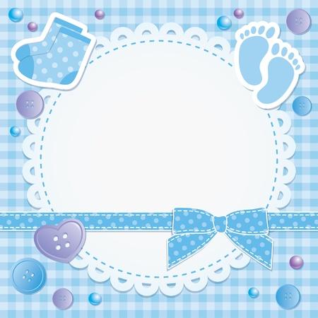 baby scrapbook: Baby-Rahmen mit blauen Schleife und Aufkleber