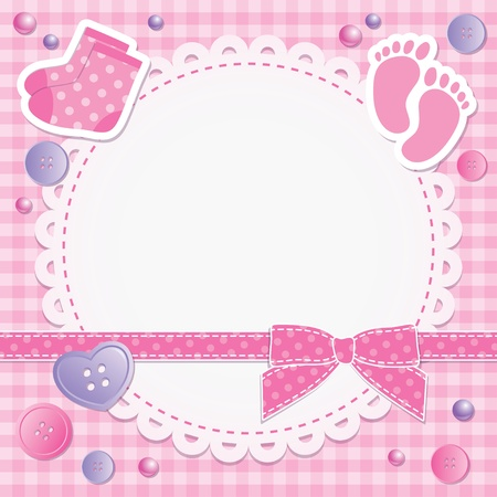 girls feet: baby frame with pink bow and stickers Illustration