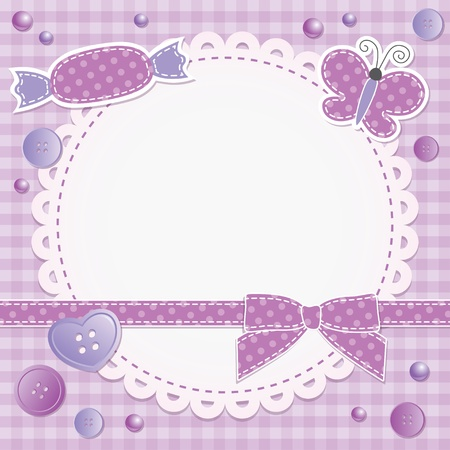 violet frame with bow, candy and butterfly