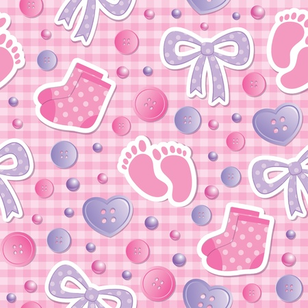 baby seamless pattern with bows and bootees Vector