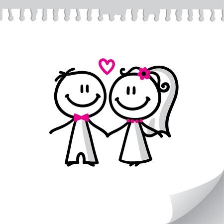 heiraten: Cartoon Hochzeit Paar auf realistischen Blatt Papier