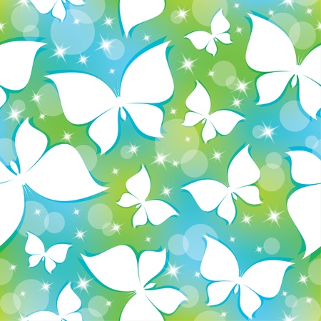 seamless pattern with white butterflies and stars Vector