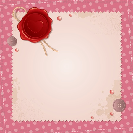 vintage background with wax seal and sewing buttons Vector