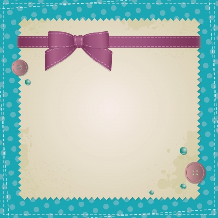 satin round: vintage background with bow and sewing buttons Illustration