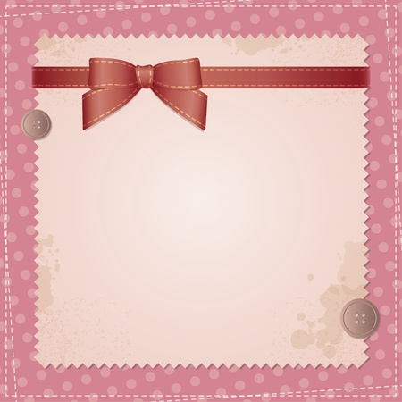 at the edge of: vintage background with bow and sewing buttons Illustration