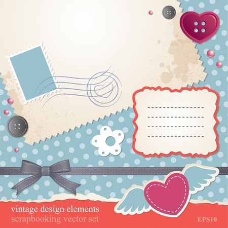 scrap-booking set, vintage design elements Vector