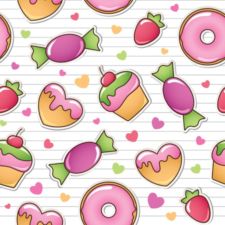 scrapbooking: seamless pattern with sweets  Illustration