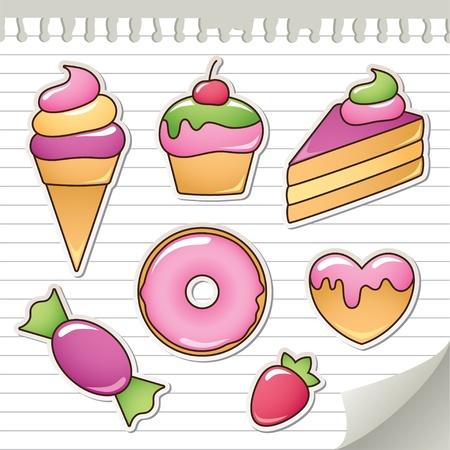 trozo de pastel: un conjunto de pegatinas con los dulces