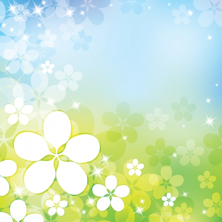 spring abstract background with white apple flowers  イラスト・ベクター素材