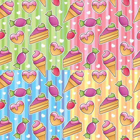 set of colorful seamless patterns with sweets Vector