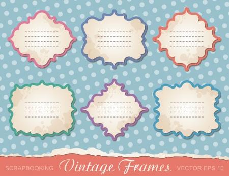 set of vintage frames, design elements for scrapbooking Vector